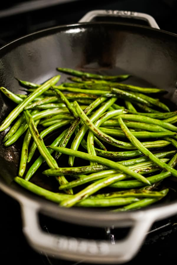 Searing green beans in skillet