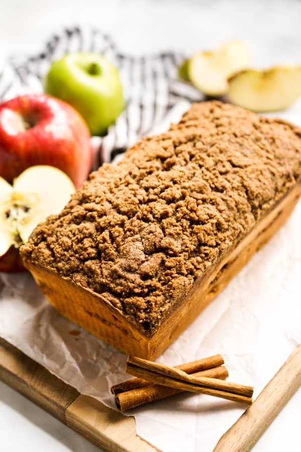Uncut loaf of Apple Cinnamon bread