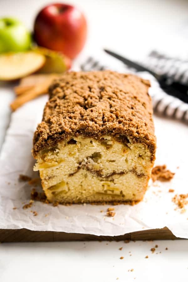 A loaf od Cinnamon Apple Bread with cinnamon swirls inside