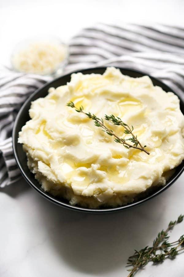A bowl of mascarpone mashed potato