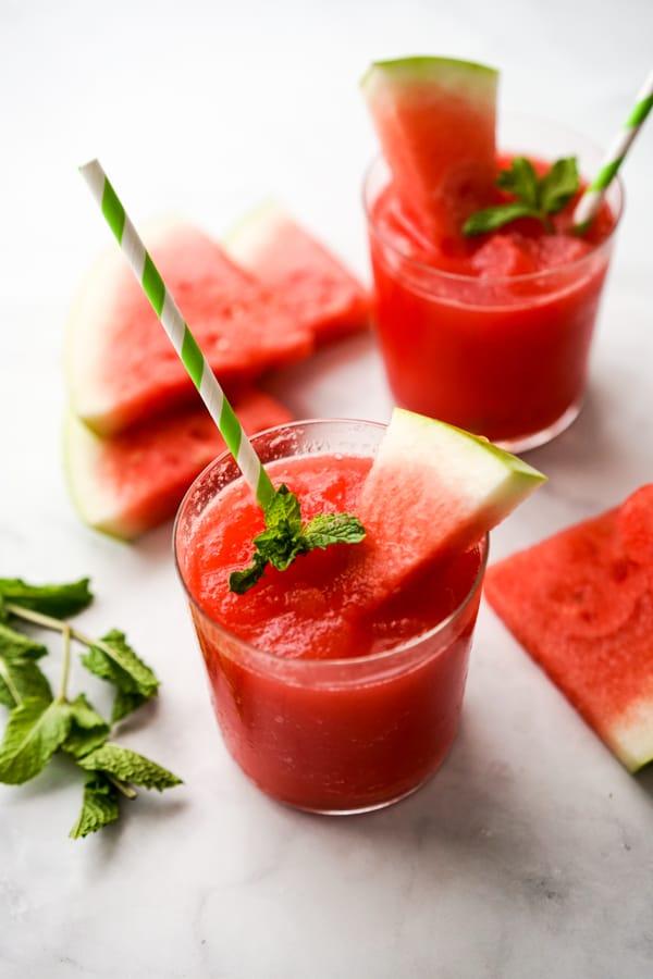 Two glasses of watermelon slushie