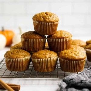 A stack of pumpkin banana muffins