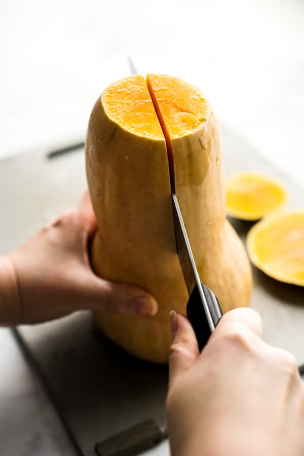 Slicing butternut squash lengthwise