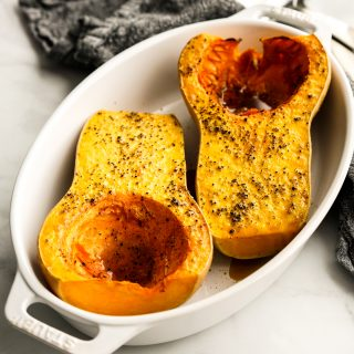 Two halves of Whole Roasted Butternut Squash