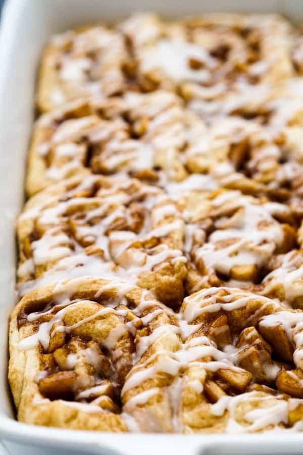 Closeup of cinnamon rolls with apple pie filling