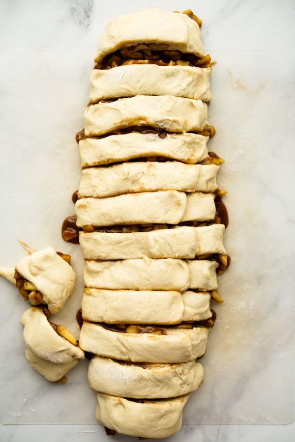 Rolled Apple Pie Cinnamon Rolls prior to baking