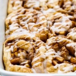 Closeup of apple pie cinnamon rolls