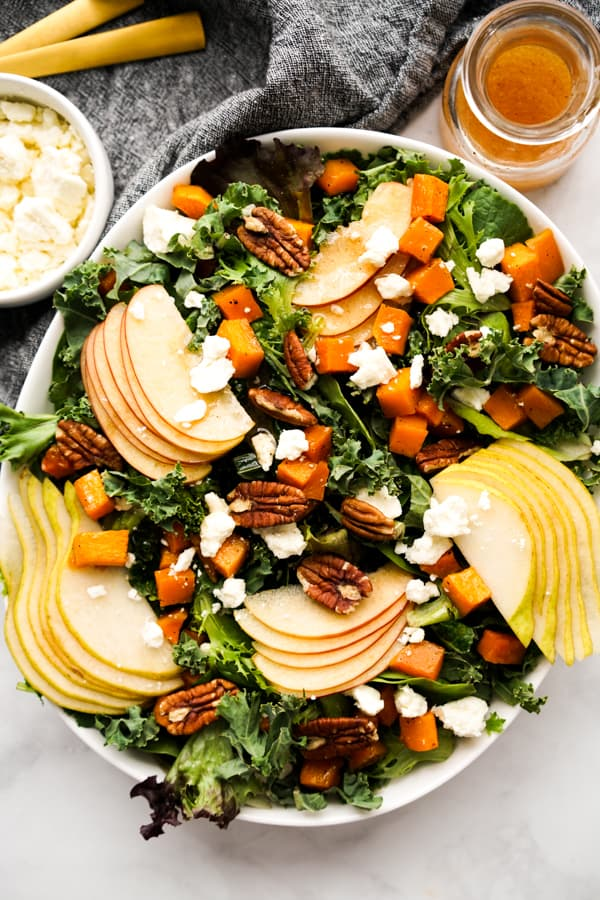 Kale and mixed green salad with apples, pears, pecans, feta and roasted butternut squash